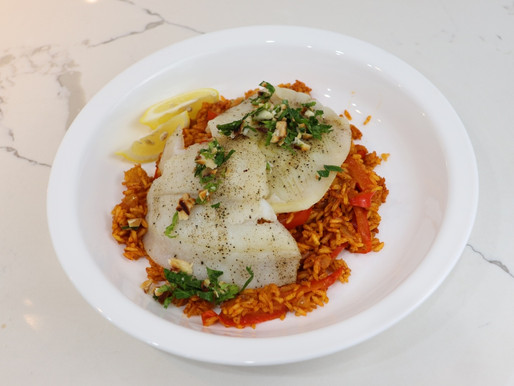 Plated Roasted Flounder with Rice Pilaf, Almonds, and Cilantro