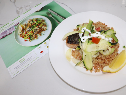 Salmon Limone with Couscous, Italian Herbs, and Zucchini Ribbon Salad