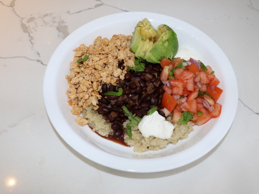 Plated Chicken Burrito Bowls