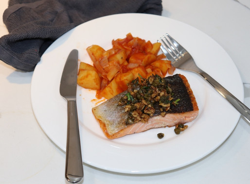 Garlic Piccata Salmon With Tomato Potatoes
