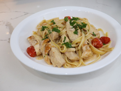 Chicken Fettuccine with Alfredo Sauce and Tomatoes