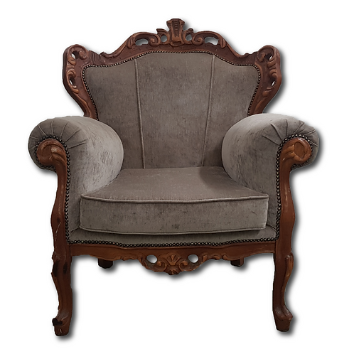 Antique Wingback Chair -Brown & Grey