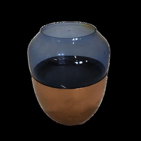 Glass Votive - Blue & Copper
