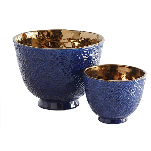 Daisy Ceramic Bowl - Navy & Copper (L)