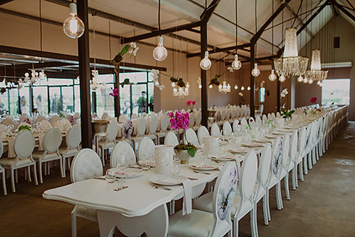 Interlinkable Shaped Dinner Tables - White