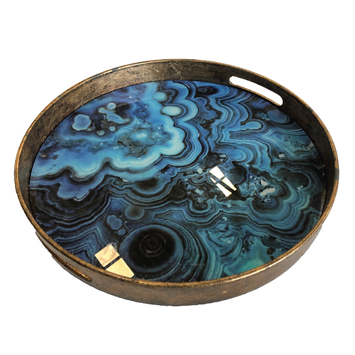 Marble Tray - Blue & Gold (Large)