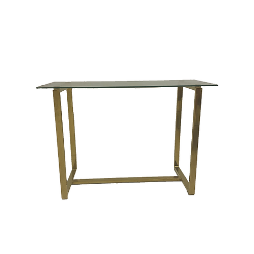 Glass Top Desk - Gold