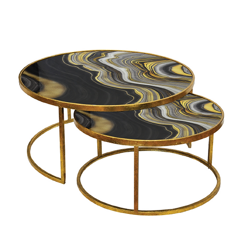 Agate Nesting Table - Waves