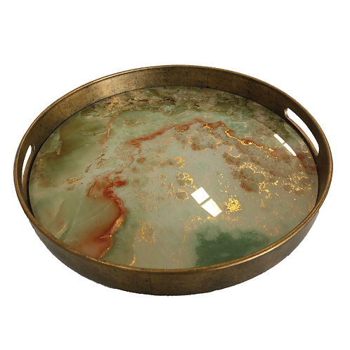 Marble Tray - Green & Gold (Large)