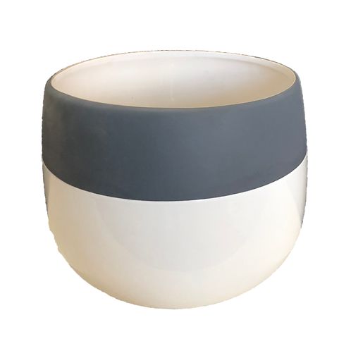 Round Ceramic Vase - Grey & White