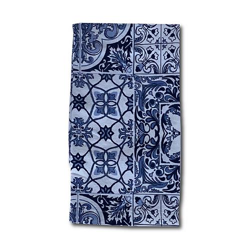 Linen Napkin - Blue Italian Tiles