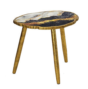 Scalloped Marble Side Table -Gold & Pink