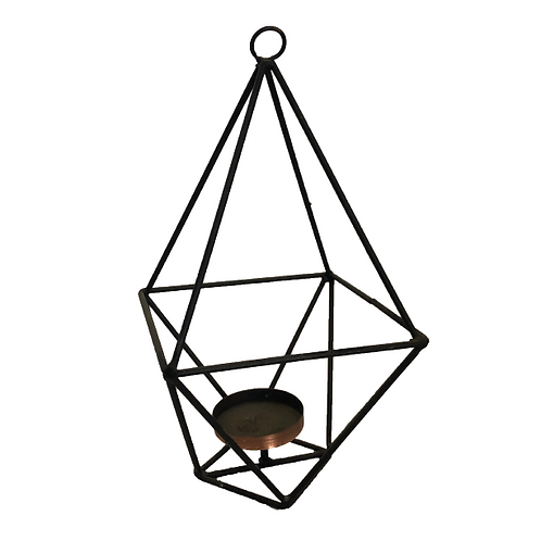 Hexa Geometric Candle Holder - Black