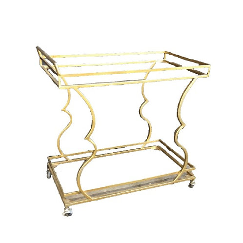 Shaped Drink Trolley - Gold