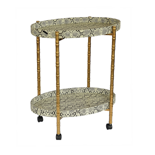 Snake Skin Oval Drink Trolley