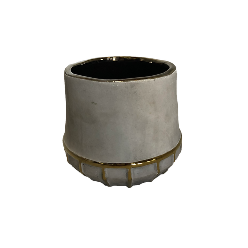 Cylinder Gold Drip Vase - Small