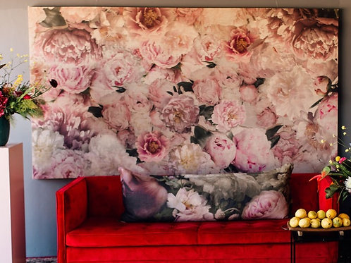 Floral Linen Screen - Pink