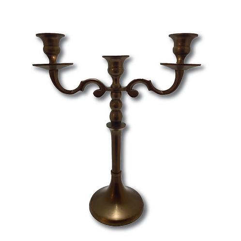 Three-Arm Candelabra -Brass/Gold (34cm)