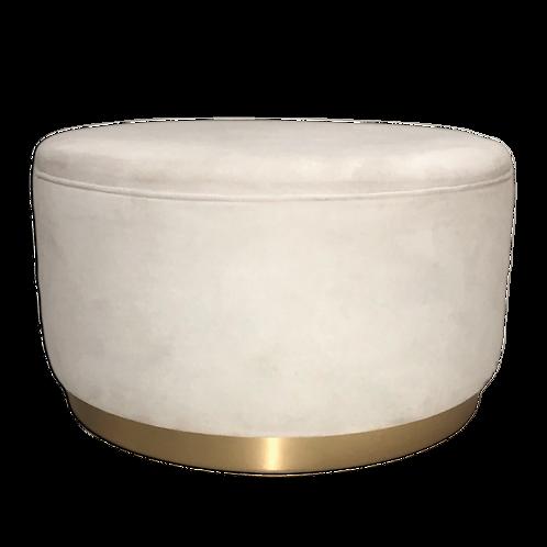Full Moon Ottoman - White & Gold