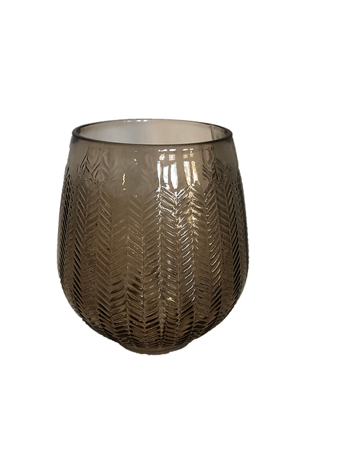 Smoke Herringbone Vase - Grey (Large)