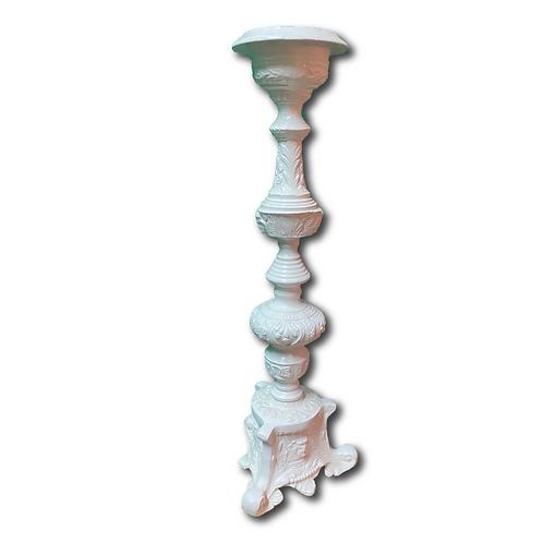 Antique Pillar Candleholder -White (53cm)