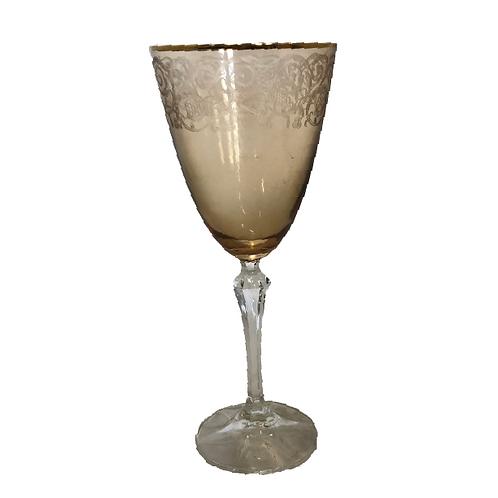 Wine Goblet Glass - Gold & Amber