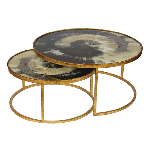 Marble Nesting Coffee Table - Black & Gold