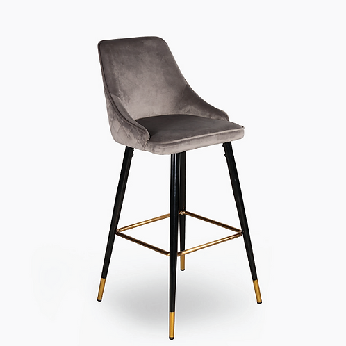 Freya Velvet Bar Chair - Grey