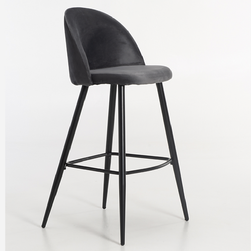 Reece Velvet Bar Chair - Charcoal