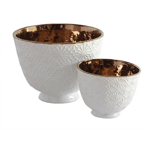 Daisy Ceramic Bowl - White & Copper (Small)
