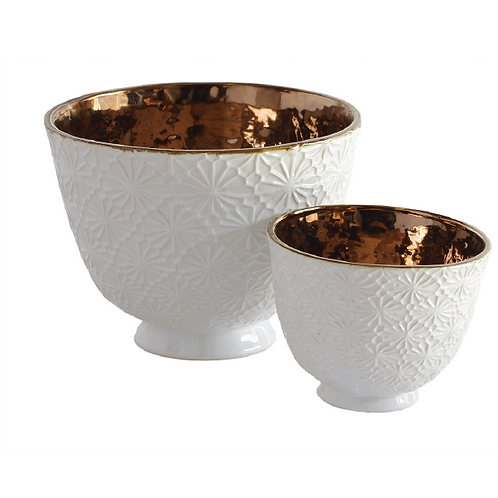 Daisy Ceramic Bowl - White & Copper (Large)