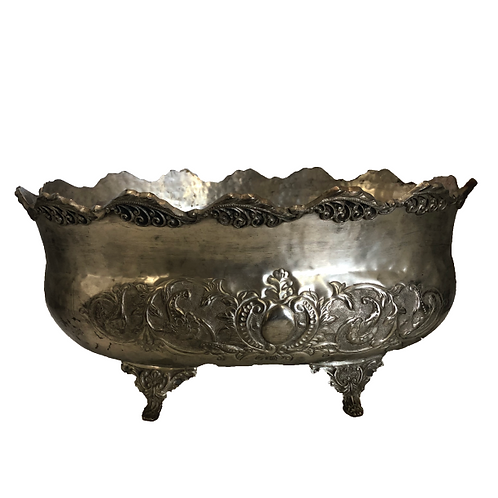 Decorative Peuter Ice Bucket - Silver