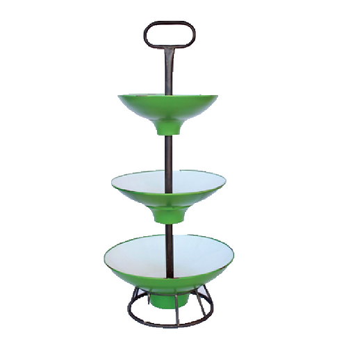 Three-Tiered Fruit Stand - Green Enamel