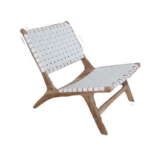 Taj Lounge Chair - White & Teak