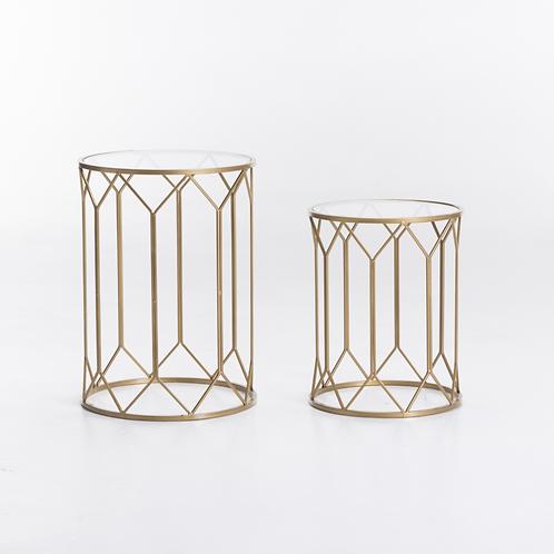 Art Deco Side Table Set - Gold