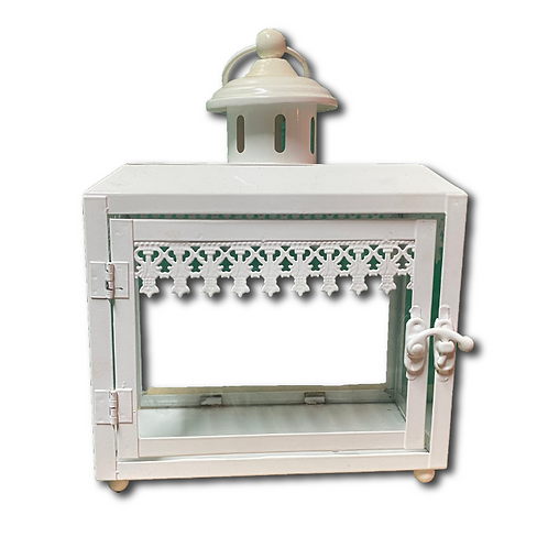 White Rectangular Lantern -Small
