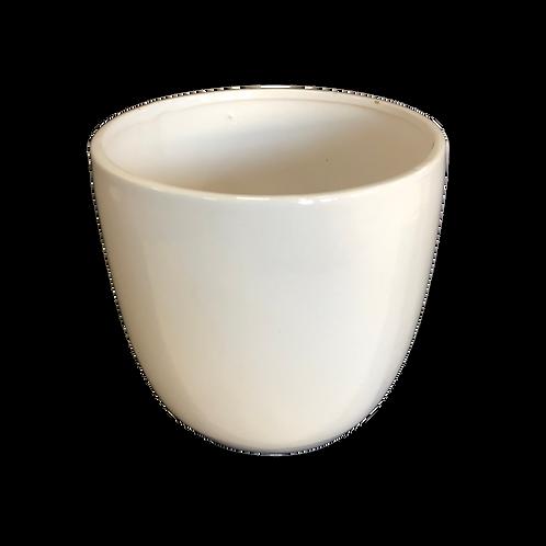 Round Ceramic Vase - White (L)
