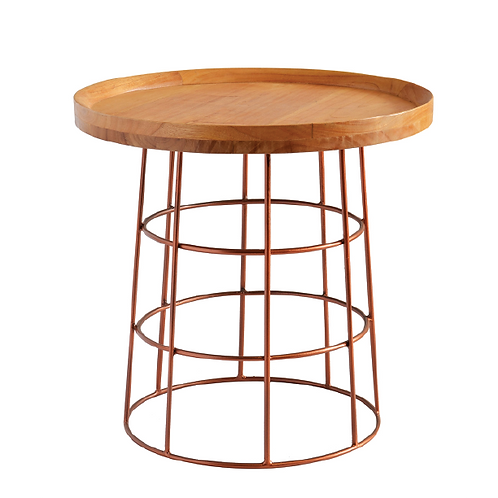 Wire & Wood Side Table - Rose Gold