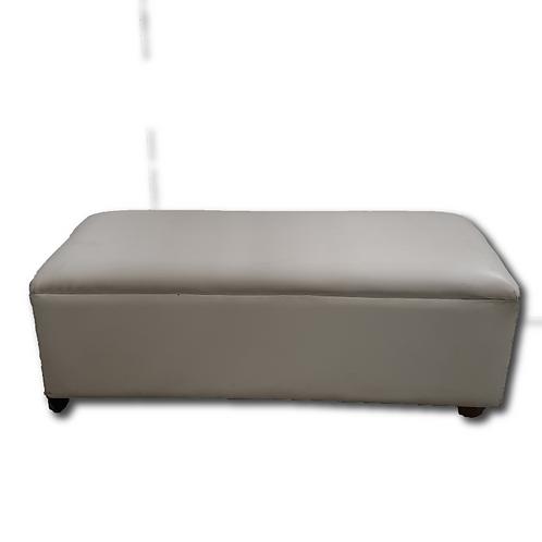 Faux Leather Ottoman -White (Three-Seater)