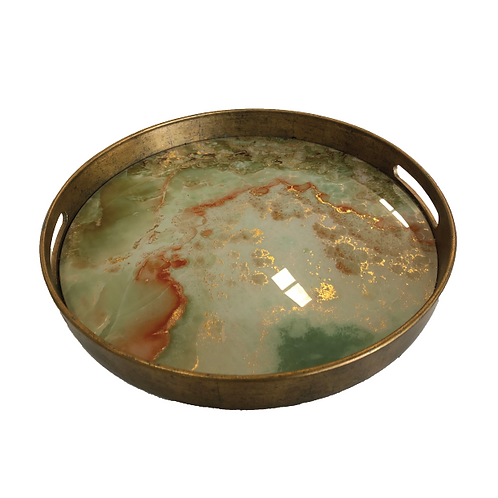 Marble Tray - Green & Gold (Small)