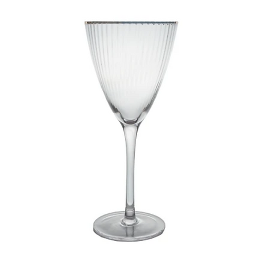 Gold Rim Wine Glass - Striped