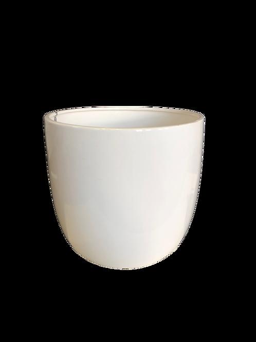 Round Ceramic Vase - White (M)