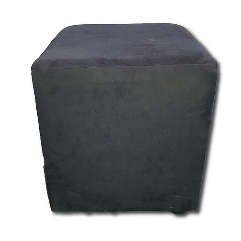 Cube Ottoman -Black Suede