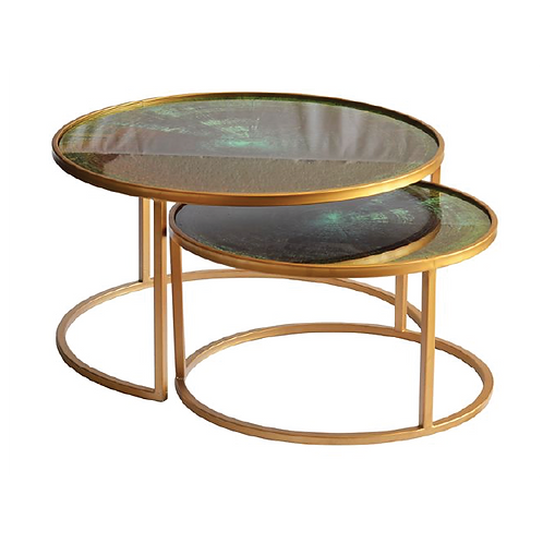 Marble Nesting Coffee Table - Green & Gold