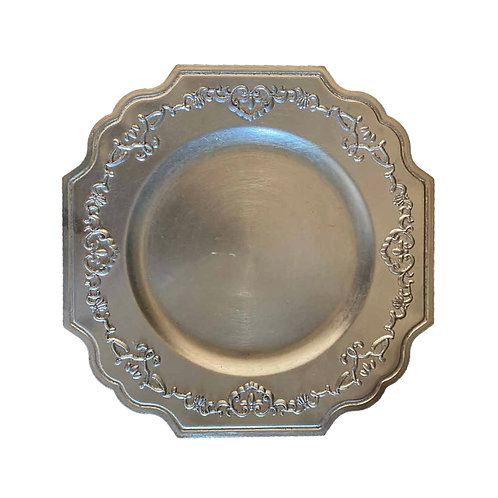 Square Antique Underplate - Silver