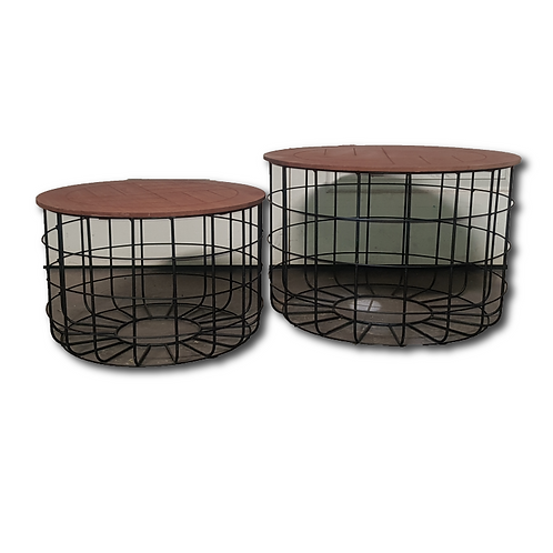 Wire & Wood Coffee Table -Set of Two