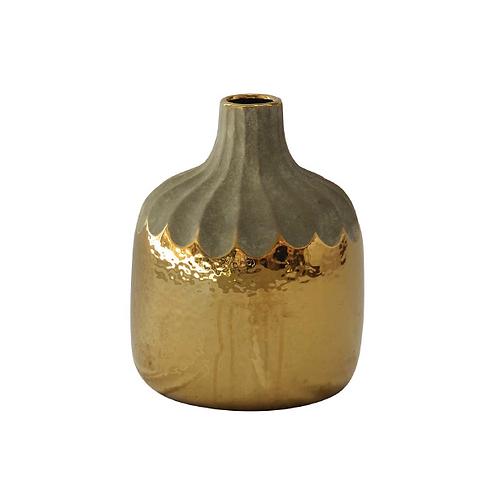 Gold Drip Gourd Drip Vase - Medium