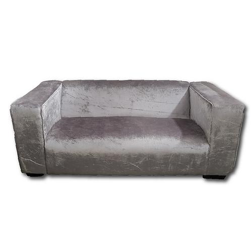 Velvet Block Couch -Silver