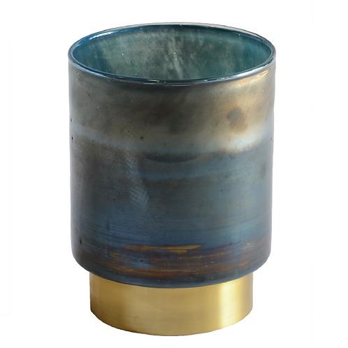 Pearl Cylinder Vase - Blue & Gold
