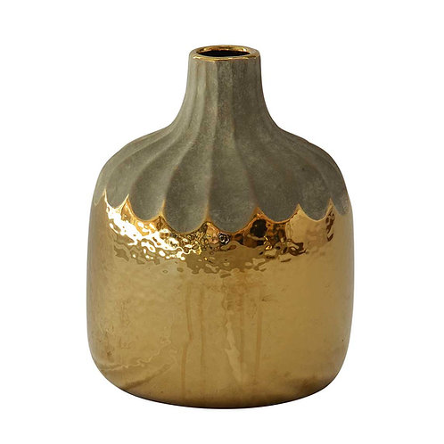 Gold Drip Gourd Vase - Large